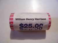 WILLIAM HENERY HARRISON ONE US DOLLAR 25 COIN BANK ROLL HEADS HEADS