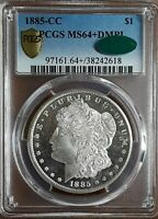 1885 CC $1 MORGAN DOLLAR PCGS & CAC MINT STATE 64DMPL . GORGEOUS BLACK AND WHITE CAMEO