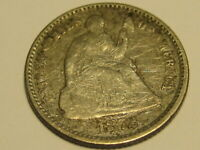 1872-P 90 SILVER SEATED LIBERTY HALF DIME FINE DETAIL