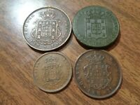 PORTUGAL 4 OLD BRONZE COIN LOT