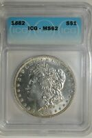 1882 P MORGAN SILVER DOLLAR IGC MINT STATE 62