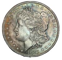1881 MORGAN DOLLAR,  LOOK, MULTICOLORED TONING BU