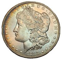 1882 $1 SILVER MORGAN DOLLAR MULTICOLOR TONING AU