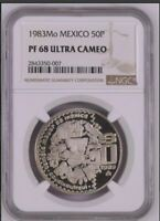1983 MEXICO 50 PESOS PROOF PF NGC PF 68 ULTRA CAMEO FROM FAM