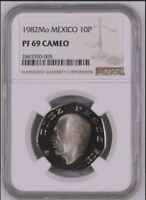 1982 MEXICO 10P PROOF NGC PF 69 CAMEO   TOP POP  ONLY 7