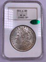 1901 O NGC MINT STATE 64 CAC MORGAN DOLLAR OLD NGC HOLDER SOAPBOX FATTY OH TONED