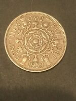 1959 GREAT BRITAIN FLORIN 2 SHILLINGS COIN  BRITISH COINAGE
