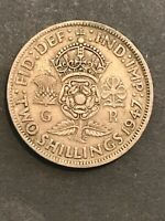 GREAT BRITAIN TWO SHILLING 1947 COIN  BRITISH POSTWAR COINAG