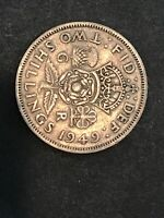 UK TWO SHILLINGS 1949 GREAT BRITAIN COIN CROWNED ROSE POSTWA