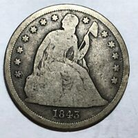 1843 SEATED LIBERTY US SILVER DOLLAR, GOOD. NOR1
