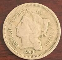 1868 3 CENT NICKEL IN ABOUT FINE CONDITION M623