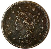 1852-P 1C BRAIDED HAIR LARGE CENT 18LOCT0826 50 CENTS SHIPPING