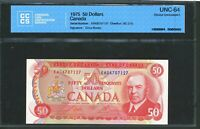 1975 $50 BANK OF CANADA. UNC64 CCCS. RCMP MUSICAL RIDE. BC 51B.