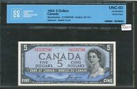 1954 BANK OF CANADA $5 DEVIL'S FACE. CCCS UNC 60. PERFECT CENTERING. BC 31B.