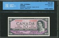 1954 $10 BANK OF CANADA DEVIL'S FACE CCCS AU 58. VIRTUALLY UNCIRCULATED. BC 32B