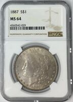 1887 $1 MORGAN SILVER DOLLAR NGC MINT STATE 64 TONED