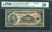1935 $50 BANQUE DU CANADA. FRENCH TEXT. PMG VF20 LOW SERIAL F00959. SCARE. BC 14