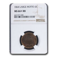 1864 TWO CENT PIECE MINT STATE 66 NGC RED/BROWN, LARGE MOTTO - SKU211271
