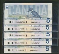 5X SEQUENTIAL SERIAL NUMBER 1986 $5 BANK OF CANADA. ENA PREFIX CROW BOUEY BC 56A