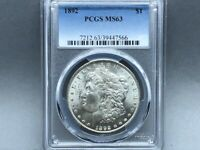 1892-P PCGS MINT STATE 63 MORGAN SILVER DOLLAR PREMIUM QUALITY W/ GREAT LUSTER