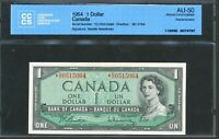 1954 $1 BANK OF CANADA. REPLACEMENT NOTE  D/O. CCCS AU 50. BC 37BA.