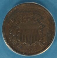 1867 TWO CENT ANACS EF40-  SURFACES, TONE, EYE APPEAL