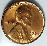 1954-D 1C LINCOLN WHEAT CENT UNC RED 17RR1412-2 50 CENTS SHIPPING