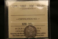 1887 CANADA SILVER 10 CENTS VF 20 ICCS. LOW MINTAGE KEY DATE  COIN. BV $350