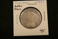 1883 GREAT BRITAIN GOTHIC SILVER FLORIN. DATE IN ROMAN NUMERALS IS MDCCCLXXXIII