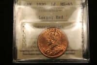 1920 CANADA LARGE CENT MS 65 RED ICCS.  IN GEM UNCIRCULATED.
