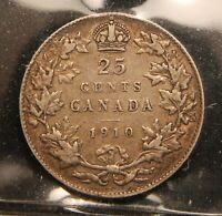 1910 CANADA SILVER 25 CENTS. VF 30 ICCS CERTIFIED. ORIGINAL TONING.