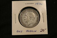 1936 GREAT BRITAIN SILVER FLORIN. KING GEORGE V COIN.