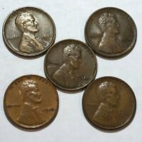 FIVE LINCOLN WHEAT CENTS. F 1925D, EXTRA FINE  1926, EXTRA FINE  1927, EXTRA FINE  1930 & EXTRA FINE  1930D.