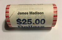 JAMES MADISON P PRESIDENT ONE DOLLAR U.S. MINT COIN ROLL