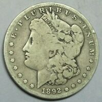 1892-S MORGAN SILVER DOLLAR, SOLID GOOD TO VG CONDITION,
