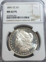 1891-CC MORGAN SILVER DOLLAR NGC MINT STATE 62PL. MIRRORED PROOF-LIKE CARSON CITY BEAUTY.