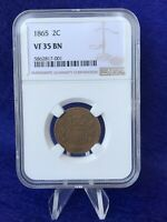 1865 2 CENT PIECE NGC VF35 BN CHOICE  FINE  LOOKING COIN