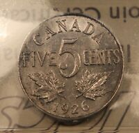 1926 FAR 6 CANADA 5 CENTS. ICCS EF 40. GREAT LUSTRE.  KEY DATE COIN. BV $800