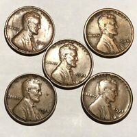 5 LINCOLN WHEAT CENTS. 1924 EXTRA FINE  LAMINATIONS,1924S F,1925 VF,1925D F/G, 1925S F 1