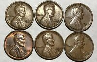 6 LINCOLN WHEAT CENTS.1929 VF,1929D F, 1929S VFEXTRA FINE ,1930 CH AU,1930D VFEXTRA FINE ,1930S VF