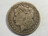 1892S VG MORGAN SILVER DOLLAR DATE FROM ALBUM COLLECTION CONDITION M12
