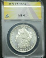1879-O MORGAN SILVER DOLLAR, ANACS MINT STATE 61, SO CLOSE TO FULL PROOF LIKE PL, BEAUTY