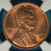 1937 LINCOLN WHEAT CENT NGC MINT STATE 67RD- EXCEPTIONAL DARKER RED EXAMPLE