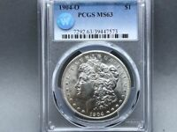 1904-O PCGS MINT STATE 63 MORGAN SILVER DOLLAR SIGHT WHITE CERTIFIED BLAST WHITE