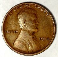 1913-P 1C LINCOLN WHEAT CENT 17RR2111-3 50 CENTS SHIPPING