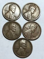FIVE VF 1921-S LINCOLN WHEAT CENTS.  Q1