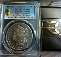 1879-CC TOP 100 VAM 3 CAPPED DIE MORGAN PCGS VF DETAILS GOUGES OBV REV I5 R6-3A
