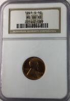 1941 S LINCOLN CENT NGC MINT STATE 66 RED