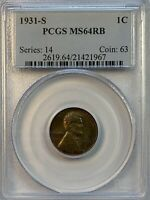 PCGS MINT STATE 64 RB 1931-S LINCOLN WHEAT CENT. GEM BU.