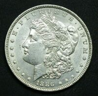 1886 MORGAN SILVER DOLLAR, CHOICE AU TO UNC, LOADS OF MINT LUSTER,